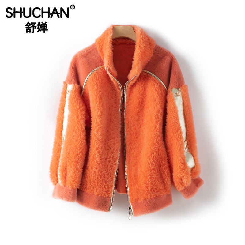 Shuchan Real Fur Coats for Women 2019 Winter Fashion Colorful Wool Coat Zipper Thick Warm Designer