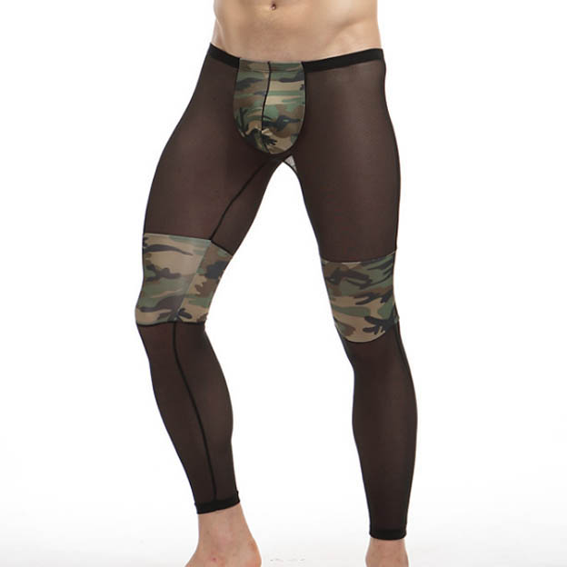 Sheer Nylon Men Sleep Underpants Camouflage Patchwork Sexy See Through Transparent Gay Male sleep bottom Panties Black