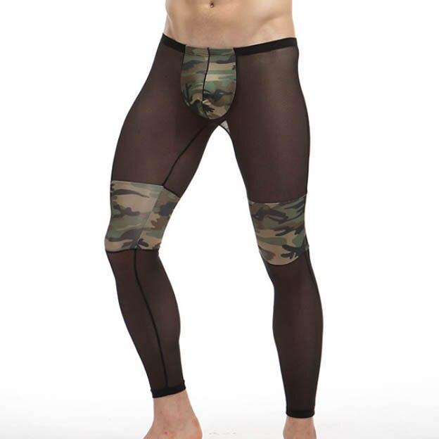 05bc64f3d589b Buy Sheer Nylon Men Sleep Underpants Camouflage Patchwork Sexy See Through  Transparent Gay Male sleep bottom Panties Black Online
