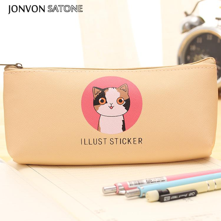 1pcs Pencilcase Kawaii Cute cat large capacity pen bag students creative stationery pencil box stationery Canvas School Supplies