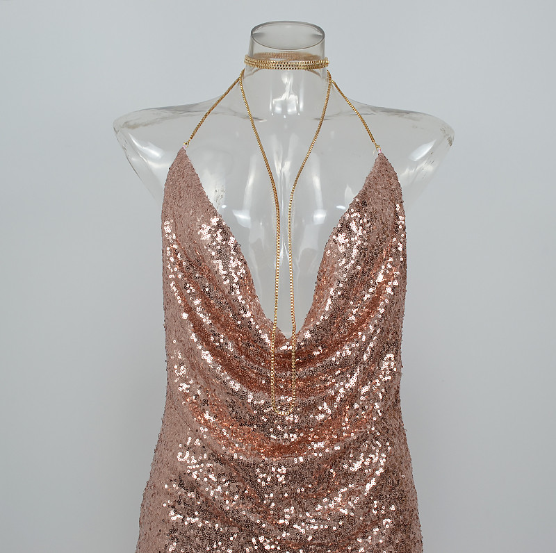 HTB1YcjzPpXXXXbEapXXq6xXFXXX5 - FREE SHIPPING Front Draped Backless Halter Sparkle Women's Sequin Dress JKP297