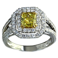 Fancy Yellow Diamond Engagement Ring 1CT Cushion Cut Real Crystal Ring 14K Two-Tone Gold Simulated Diamond Halo Engagement Ring