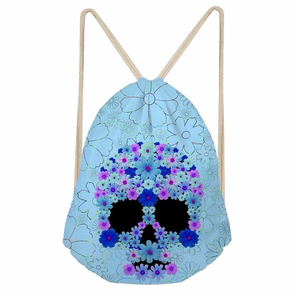 Noisydesigns Skull Flower Printing Drawstring Bag Women Backpack Children For Teenager Girl School Bagpack Cinch Mochila Escolar