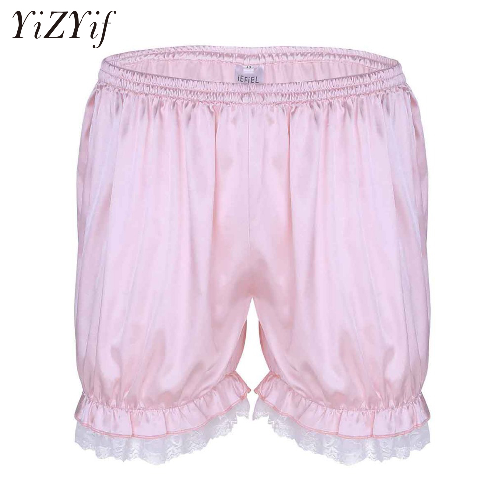 YiZYiF Sexy Mens soft Lace stretchy satin effect sissy Shorts bloomers knickers panties Lightweight Boxer Briefs Sleep Wear