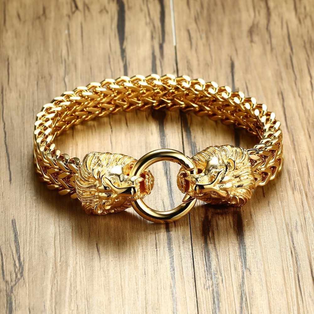 9eafcb7ef3d82 Antique Double Lion Head Herringbone Chain Bracelet for Men Stainless Steel  Gold Tone Hip Hop Punk