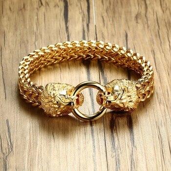 Doble antiguo de cabeza de león de espiga pulsera de cadena para hombres de acero inoxidable oro tono Hip Hop Punk de la joyería de los hombres 22,5 cm