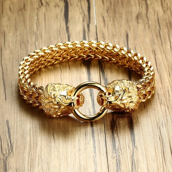 Pulsera de cadena de espiga de cabeza de león doble antigua para hombres de acero inoxidable tono dorado Hip Hop Punk hombres joyería 22,5 cm