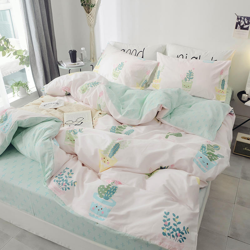 Image 2 - 100%Cotton Twin Queen King cactus Bedding Set Kids Single Bed sheet Fitted sheet Duvet cover parrure de lit ropa/juego de cama-in Bedding Sets from Home & Garden