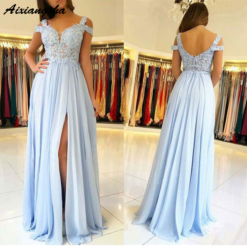 Simple Light Blue 2018   Prom     Dresses   Long with Appliques A-Line Front Slit Lace Chiffon Saudi Arabic Long Evening Gown   Prom     Dress