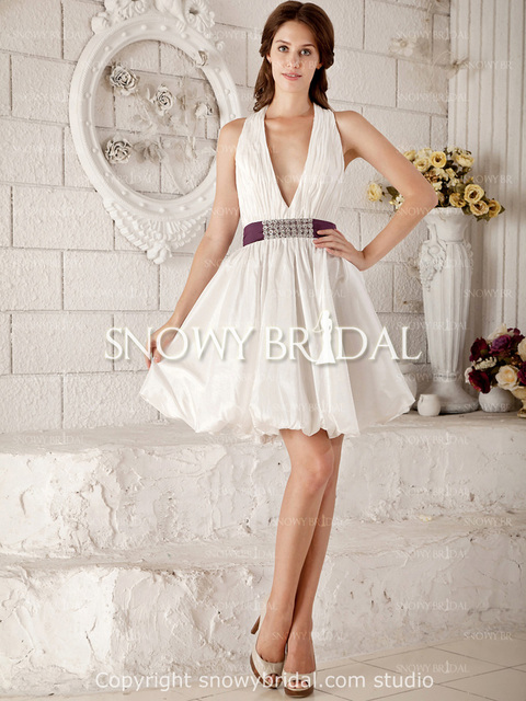 Free Shipping In Stock Sexy Deep V Neck Wedding Dress Cheap