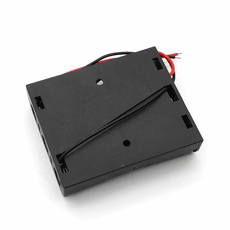 Hot New Box Holder For 3 x AA Black With Wire Leads Plastic Battery Storage Case New
