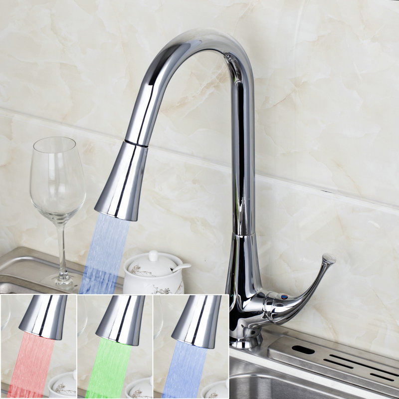 2014 Modern Single Handle Polished Chrome Finished Deck Mounted Kitchen Sink LED Pull Out Faucet Tap