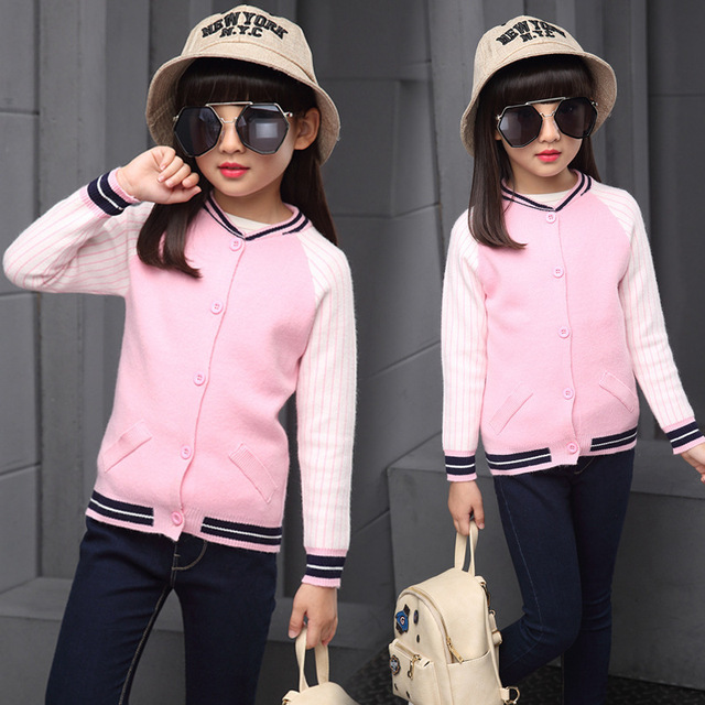 Новорожденный ребенок осень одежда хит цвет вязать рукав разрез куртки бейсбола все модные девушки свитер WER17