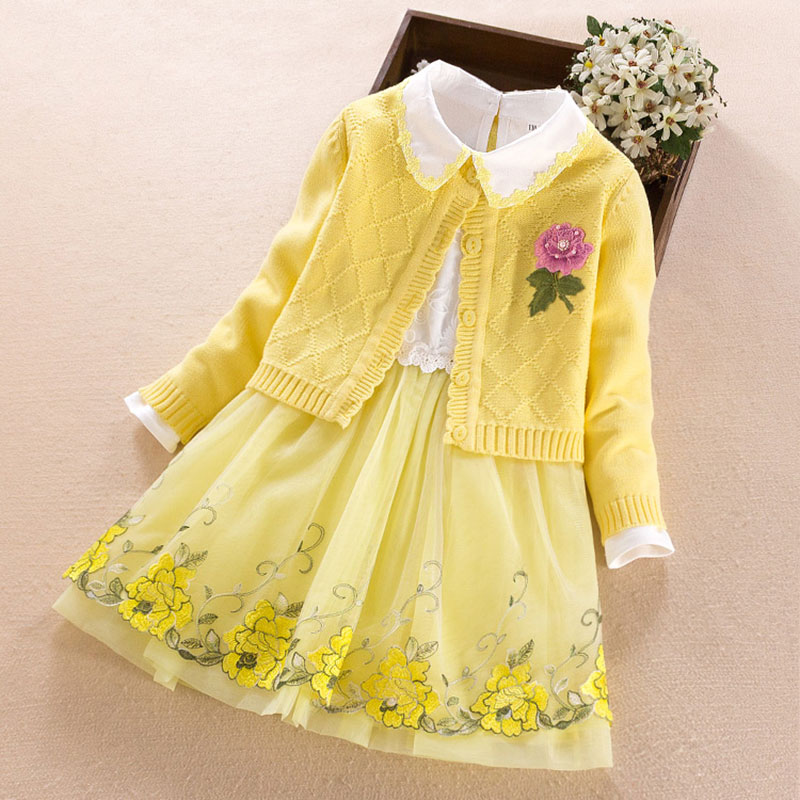 Children's Clothing sets for girls cotton cardigan sweater coat+dress 2018 New Autumn Winter Kids girl princess Clothes 3-11Year 2018 new spring autumn 3 10 yrs baby girls dress clothing sets lace collar t shirts girl dress 2 pieces sets korean kids clothes