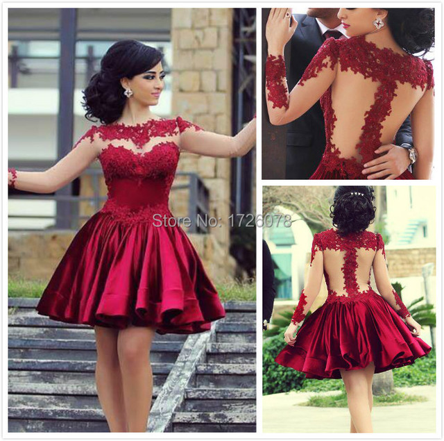 160228a58ca8 Free Shipping Illusion Neck Sexy Short Puffy Sheer Long Sleeves Wine Red  Lace Applique Short Prom Dresses 2015 Evening Dress