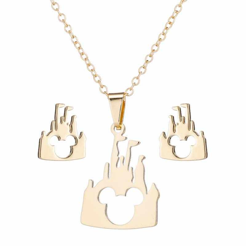 Yiustar נירוסטה תכשיטי סטי מיקי שרשראות תליוני נשים בנות כל יום תכשיטי אופנה טירה עכבר זהב שרשרת