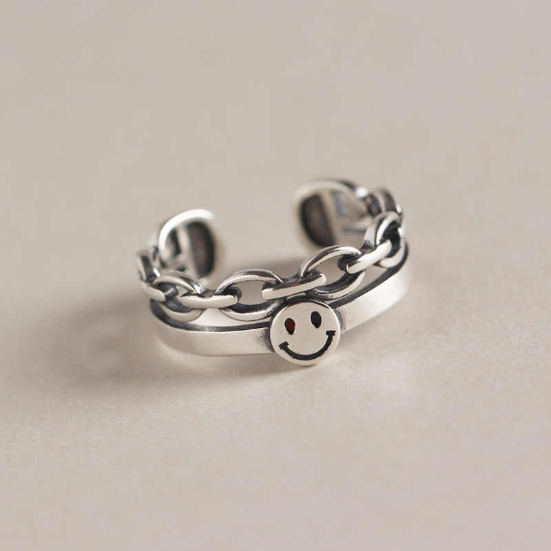 SHANICE Punk Jewelry 925 Sterling Silver Open Ring Korean retro smile geometric double layer Adjustable  Rings For Woman Girls