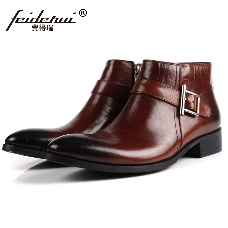 Luxury Brand Man Pointed Toe Outdoor Ankle Boots High Quality Genuine Leather Italian Designer Men's Cowboy Martin Shoes LF98 krusdan luxury brand platform man handmad outdoor ankle boots genuine leather round toe classic men s cowboy martin shoes