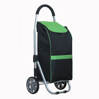 Foldable Aluminum Alloy Shopping Cart 40kg Loading Portable Trolley with Waterproof Oxford Bag Travel Storage Organizer