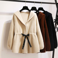 Faux Velvet Hooded Thicken Jacket Women Autumn Lace Up Knitted Sweater Cardigan Coat Campera Mujer Soft Velvet Sweaters C4660