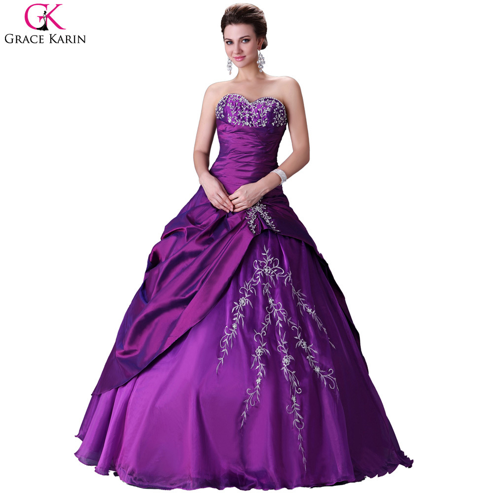 Grace Karin Voile Puffy Quinceanera Dresses Purple Long Masquerade ...