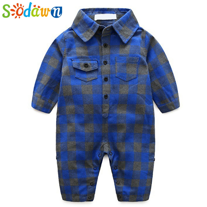 Sodawn Autumn New 2017 Baby Jumpsuit Baby Boy Clothes Plaid Design Crawling Clothes Long Sleeve Baby Rompers Infant Clothes warm thicken baby rompers long sleeve organic cotton autumn