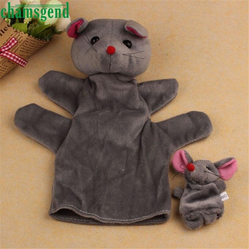 HOT 2Pcs Mouse Soft Animal Finger Puppet Baby Infant Kid Toy Plush Toys AUG 31