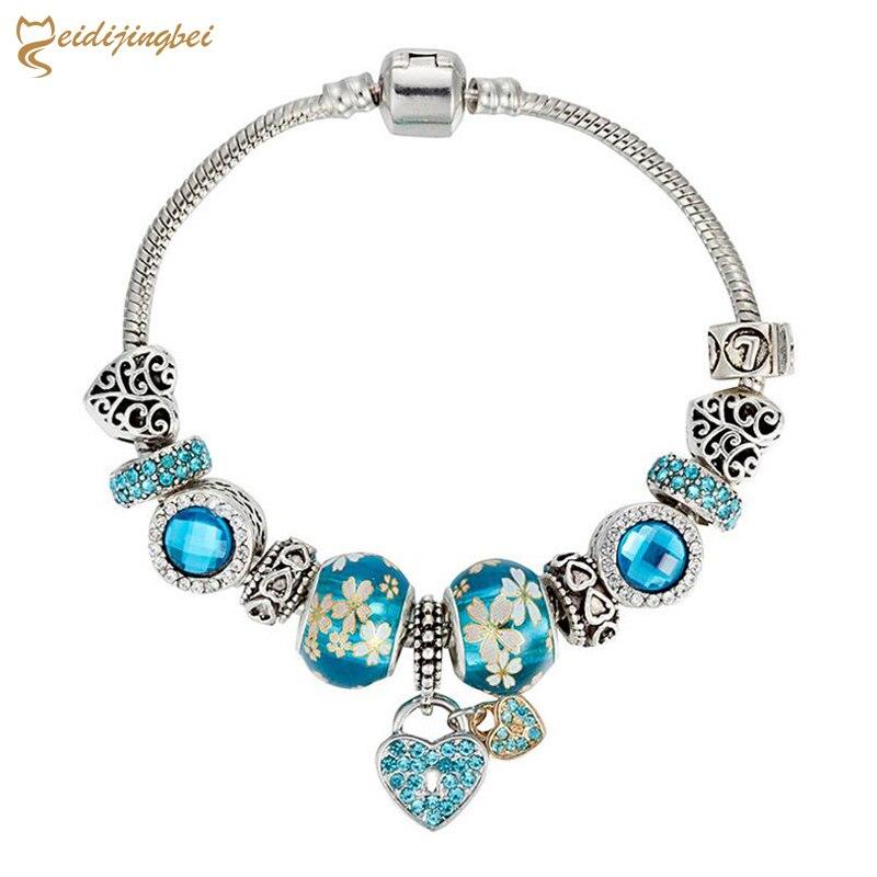 MEIDIJINGBEI New blue beaded set rhinestone stone beads bracelet fashion crystal bracelet