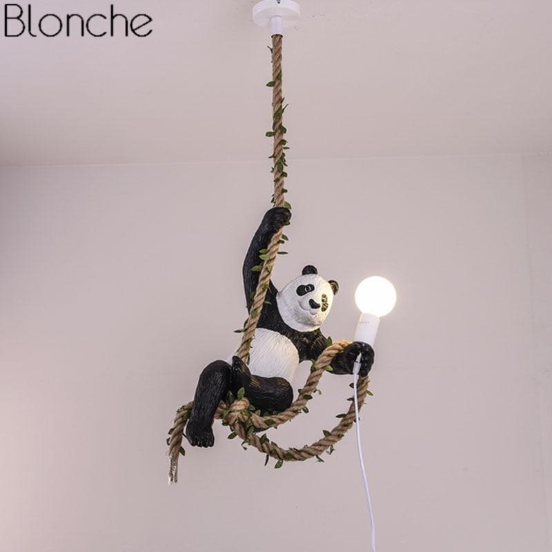 Vintage résine Panda pendentif lumières Loft cuisine industrielle Luminaire corde de chanvre suspension lampe Restaurant décor à la maison Luminaire