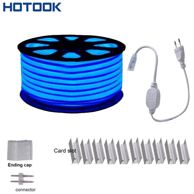 цена на 220V/110V LED Neon Light SMD2835 20m 50m 92LED/m Green Red White blue LED Flexible Rope Neon strip