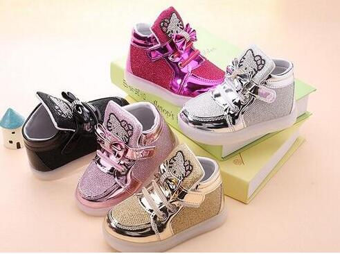 Wholesale 5 pairs 2017 new girl baby children s cartoon shoes led lights fashion sports shoes