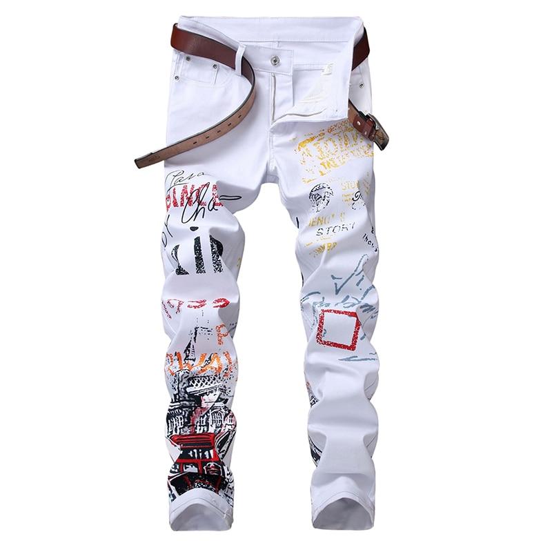 ABOORUN Fashion Men's Skinny Pencil Jeans Red Printed Slim fit Denim Pants Hip Hop Male Denim Joggers YC1333