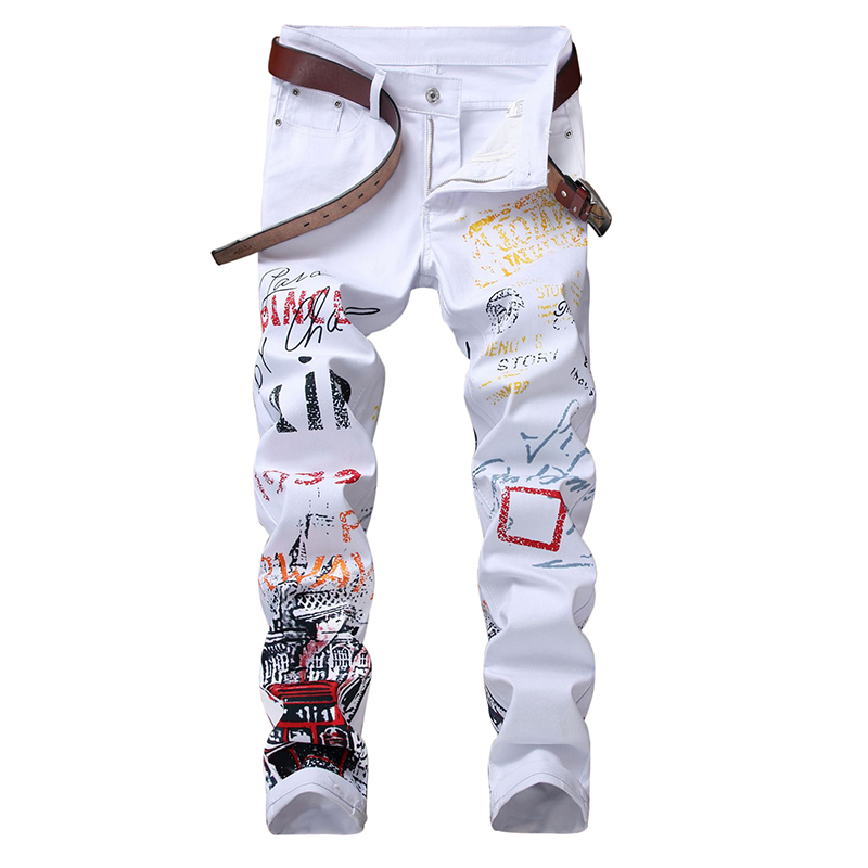 ABOORUN Fashion Men's Skinny Pencil   Jeans   Red Printed Slim fit Denim Pants Hip Hop Male Denim Joggers YC1333
