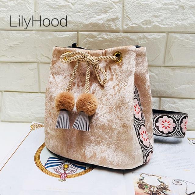 LilyHood 2018 Fashion Women Velvet Bucket Shoulder Bag Vintage Retro Chic Pom Pom Fringe Embroidery Wide Strap Crossbody Bags