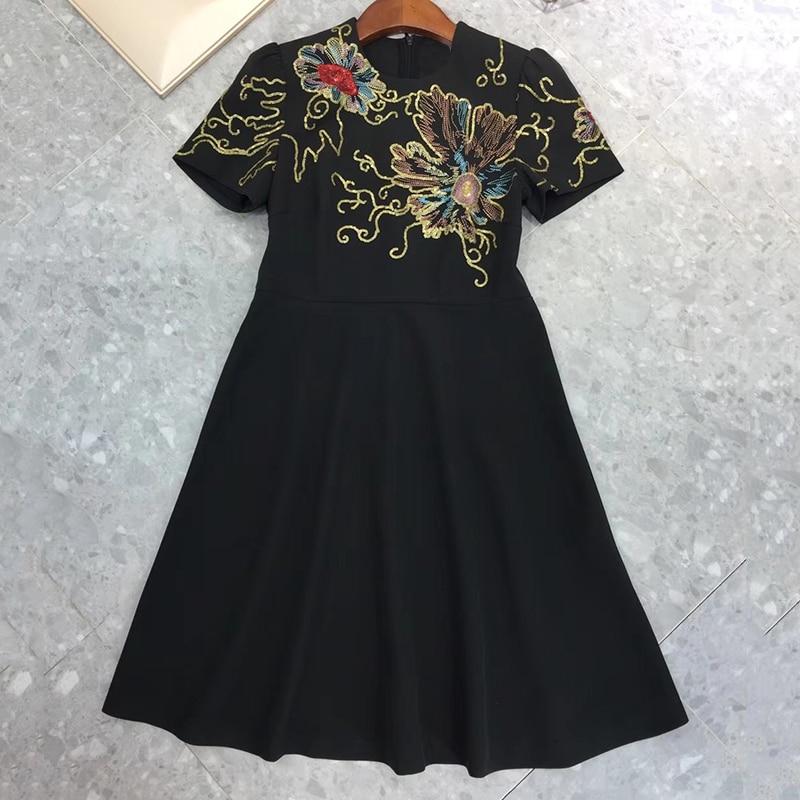 Luxe Robes Genou Dame Broderie Mode Manches dessus Femmes À D'été Courtes Robes Du 2018 De Hw7SBH