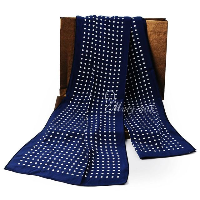 Fashion  Brand  Mens 100% Silk  Long  Scarf Cravat  Scarives Layer  Black Dots For__For Spring Autumn Winter