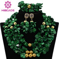 Marvelous Nigerian Coral Beads Bridal Jewelry Set African Green Beads Coral Wedding Necklace Set Gold Plated Free Ship CNR412