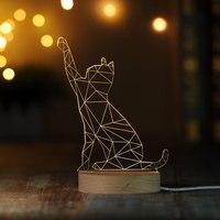 Lovely Animal Cat/Rabbit/Unicorn/Dolphin Figure 3D LED Table desk lamp Warmwhite Bedside Nightlight Wood base Remote IY804016