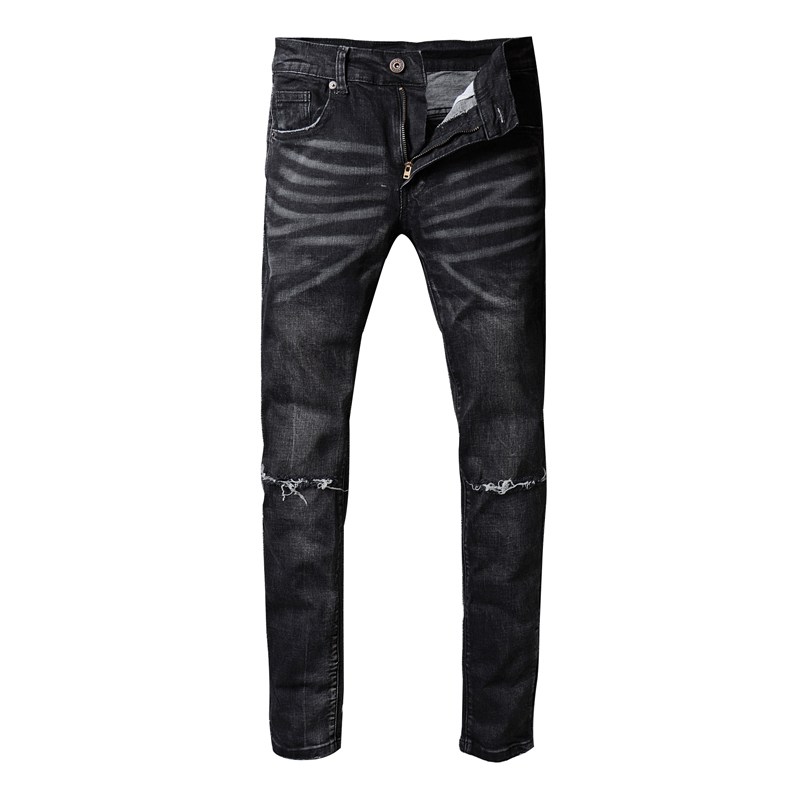 high quality New Biker Jeans Motorcycle style  men jeans Slim Fit Washed pants Black colors destroyed Men pant men s cowboy jeans fashion blue jeans pant men plus sizes regular slim fit denim jean pants male high quality brand jeans