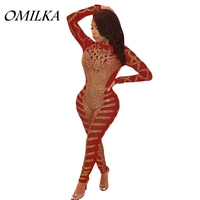 OMILKA 2018 Autumn Winter Women Long Sleeve Stand Neck Diamonds Bodycon Rompers and Jumpsuits Sexy Black Red Blue Party Overalls
