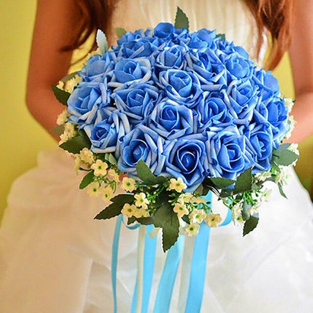 Artificial Silk Wedding Bouquets for Bride Bridal Accessaries 2016 Cheap Wedding Bouquet 10 colours Wedding Photographers