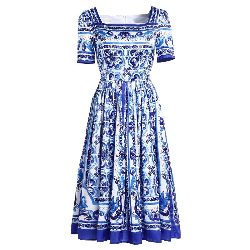 Fashion Gedruckt Kleid Urlaub Kragen Kurzarm Vintage Blau WeiPorzellan Druck Majolika Platz Jc2255 Damen Runway 2018 yb7fgY6