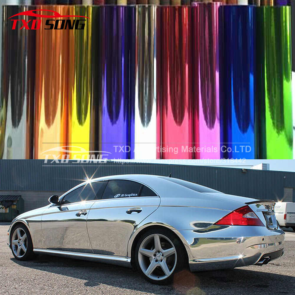 Flexibele chroom! Silver chrome mirror vinyl car wrap sticker met import lijm en rekbaar film Chrome mirror vinyl Sticker