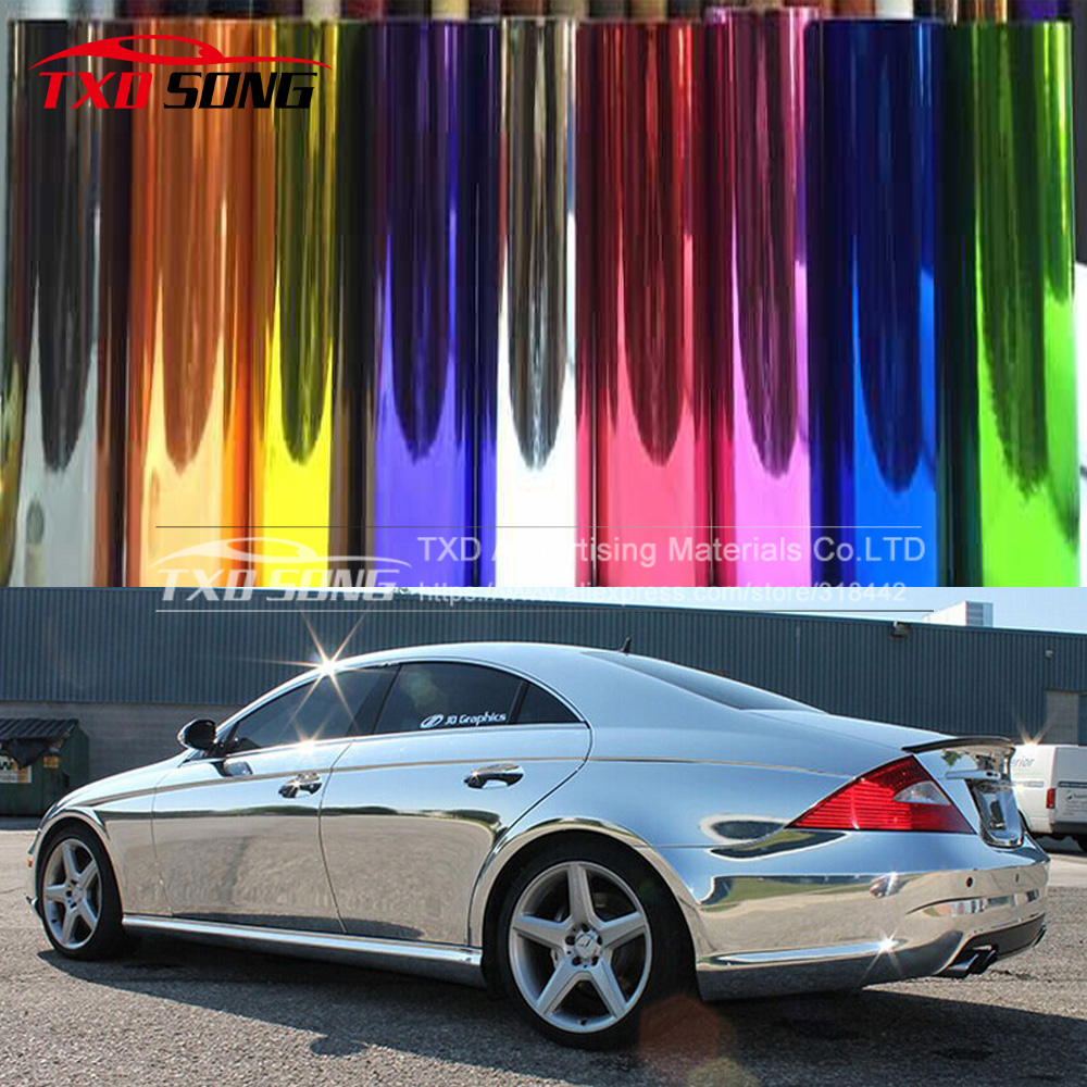 1.52*30CM(5FTX65FT) New Chrome mirror stretchable vinyl sticker with free shiphping  hand jet printer price