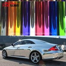 ¡Cromo Flexible! Pegatina de vinilo con revestimiento para coche, espejo cromado plateado, con pegamento de importación y película estirable, adhesivo de vinilo cromado para espejo