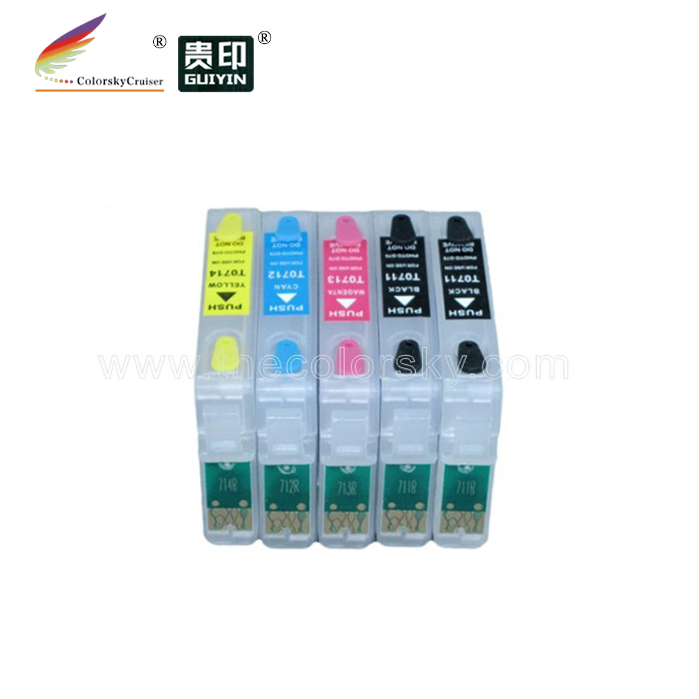 (RCE711H-714) refillable ink cartridge for <font><b>Epson</b></font> T0711H T0711-714 71H 71 B40W <font><b>BX300F</b></font> BX310FN BX600FW BX610FW kkcmy image