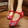 Spring Autumn Printing Peacock Women Flats Chinese Style Canvas Women Casual Shoes Classical National Flat Shoes Ladies SNE-386