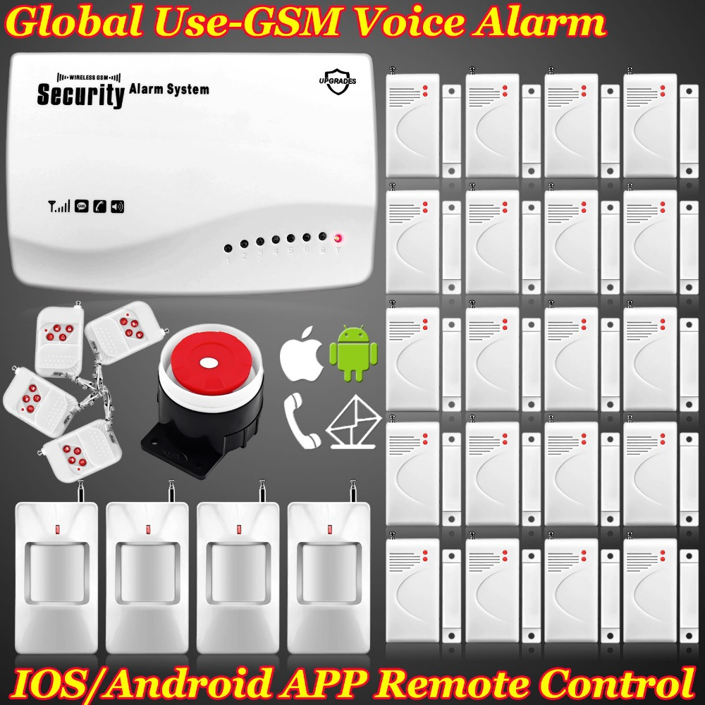 EMS/DHL Free!New Wireless GSM home Door Burglar Voice alarm Security system IOS/Android App Remote Control Setting Arm/Disarm