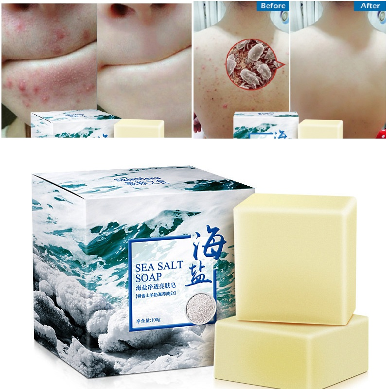 100g Goat Milk Sea Salt Cleaner Removal Face Wash Pimple Pores Acne Treatment Moisturizing  Whitening Soap Base Skin Care TSLM1(China)
