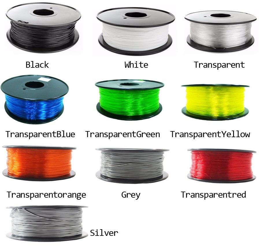 Filamento plástico de alta resistência da impressora 3d do filamento petg da impressão do filamento de petg da boa qualidade 1.75mm 1 kg/500g